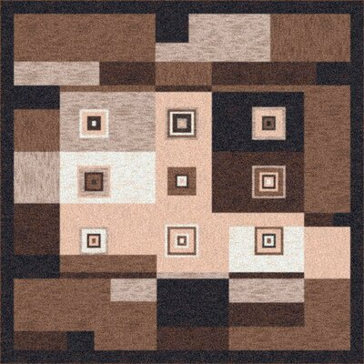 Pastiche Bloques Brown Leather Rug Rug Size: Octagon 77
