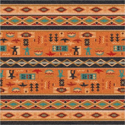 Pastiche Wide Ruins Smog Orange Area Rug Rug Size: Oval 78 x 109