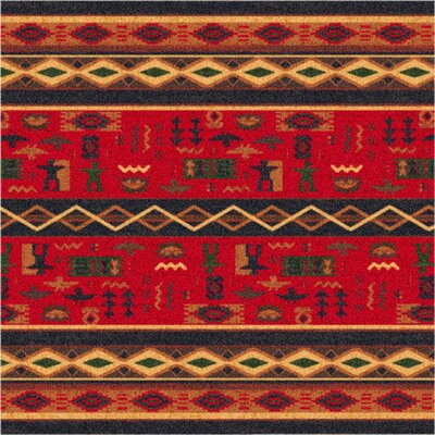 Pastiche Wide Ruins Red Area Rug Rug Size: Oval 78 x 109