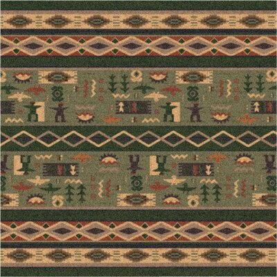 Pastiche Wide Ruins Autumn Forest Green Area Rug Rug Size: Oval 78 x 109
