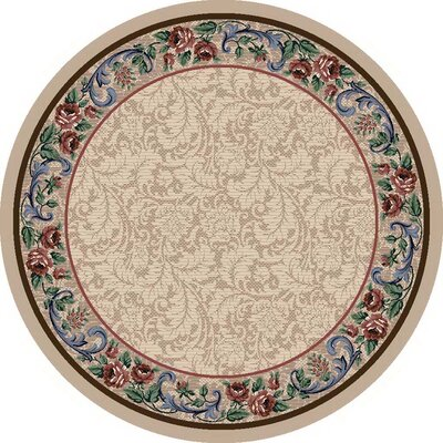 Innovation Pearl Mist Rose Damask Area Rug Rug Size: Round 77