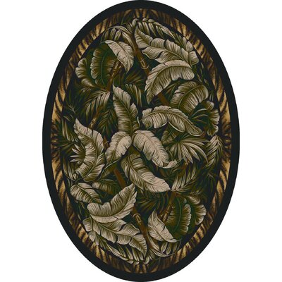 Signature Jungle Fever Ebony Sage Area Rug Rug Size: Oval 54 x 78