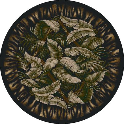 Signature Jungle Fever Ebony Sage Area Rug Rug Size: Round 77