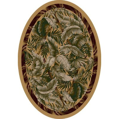 Signature Jungle Fever Light Maize Area Rug Rug Size: Oval 54 x 78