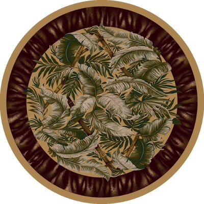 Signature Jungle Fever Light Maize Area Rug Rug Size: Round 77