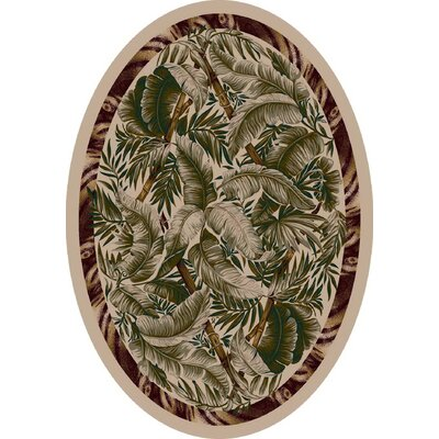 Signature Jungle Fever Pearl Mist Area Rug Rug Size: Oval 54 x 78