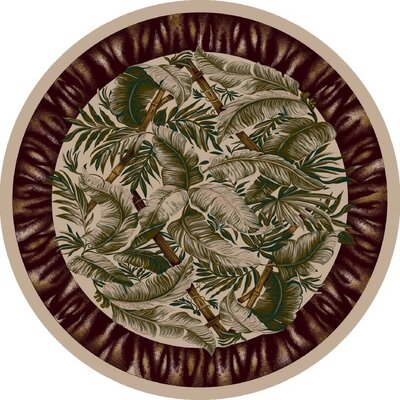 Signature Jungle Fever Pearl Mist Area Rug Rug Size: Round 77