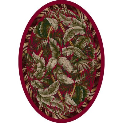 Signature Jungle Fever Ruby Area Rug Rug Size: Oval 54 x 78