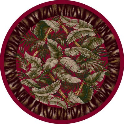 Signature Jungle Fever Ruby Area Rug Rug Size: Round 77