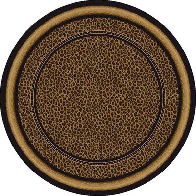 Signature Zambia Print Onyx Area Rug Rug Size: Round 77