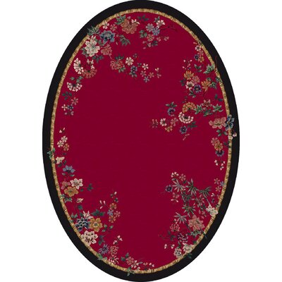Signature Mindre Ruby Area Rug Rug Size: Oval 54 x 78
