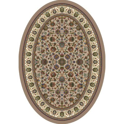 Signature Persian Palace Sandstone Area Rug Rug Size: Oval 54 x 78