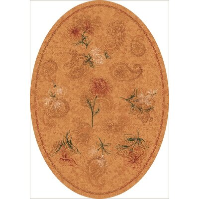 Pastiche Vintage Flaxen Orange Area Rug Rug Size: Oval 7'8