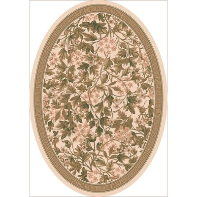 Pastiche Delphi Floral Sand Brown Rug Rug Size: Oval 310 x 54
