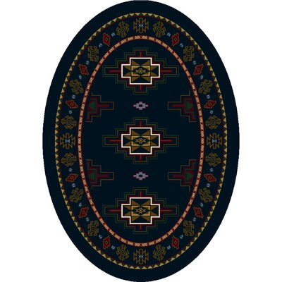 Signature Prairie Star Sapphire Area Rug Rug Size: Oval 54 x 78