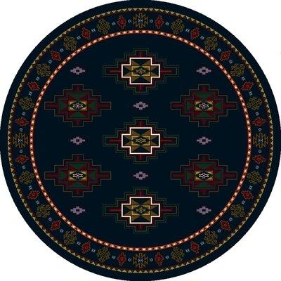 Signature Prairie Star Sapphire Area Rug Rug Size: Round 77