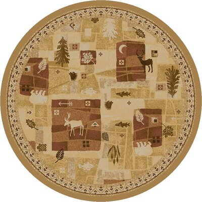 Signature Deer Trail Maize Area Rug Rug Size: Round 77