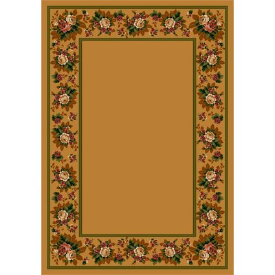 Design Center Maize Floral Lace Area Rug Rug Size: 109 x 132