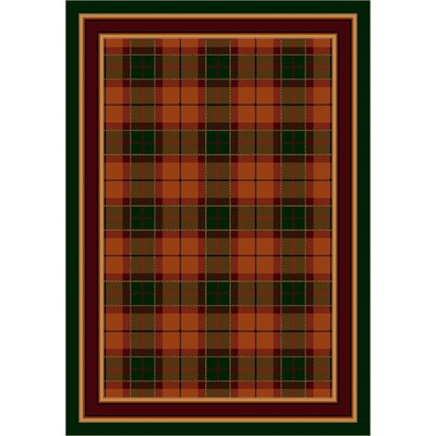 Design Center Amber Emerald Magee Plaid Area Rug Rug Size: Round 77