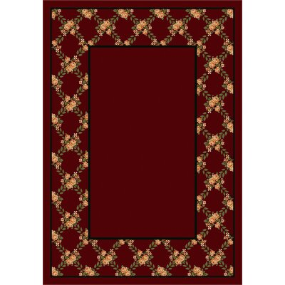 Design Center Cranberry Rose Bower Area Rug Rug Size: Round 77