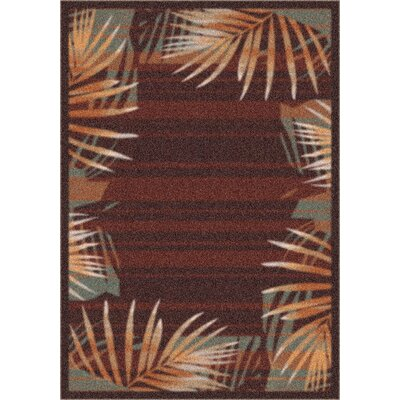 Modern Times Palm Dark Chocolate Area Rug Rug Size: Oval 54 x 78