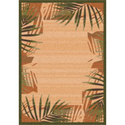 Modern Times Palm Deep Olive Area Rug Rug Size: Rectangle 109 x 132