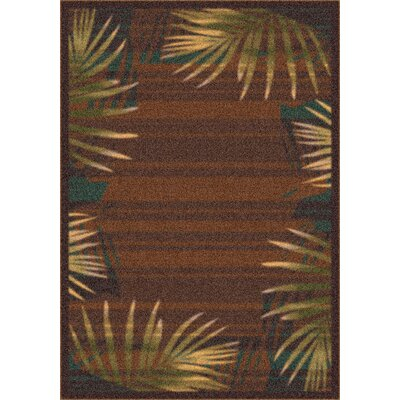 Modern Times Palm Brown Leather Area Rug Rug Size: Oval 54 x 78