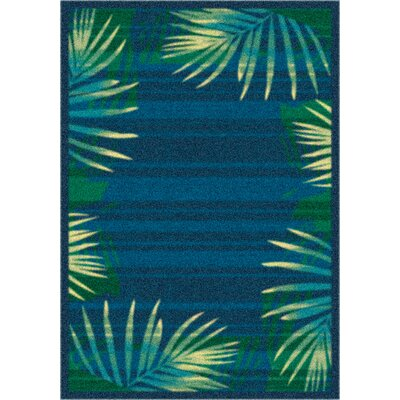 Modern Times Palm Blue Grey Area Rug Rug Size: 10'9