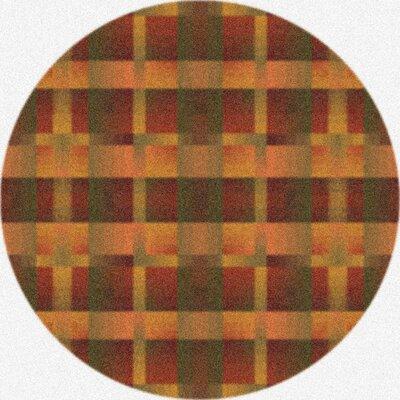 Modern Times Aura Fall Orange Area Rug Rug Size: Round 77