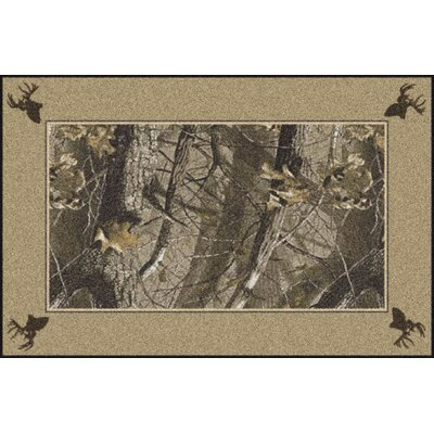Realtree Hardwoods Solid Border Brown Area Rug Rug Size: Rectangle 54 x 78