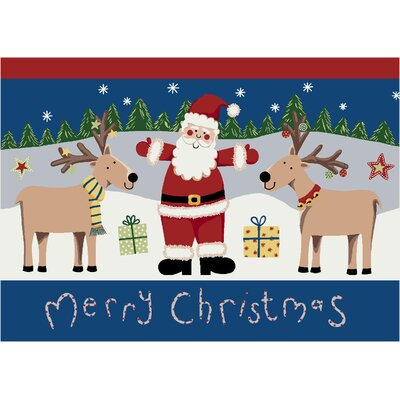 Winter Seasonal Santa Deer Christmas Doormat Size: Rectangle 54 x 78