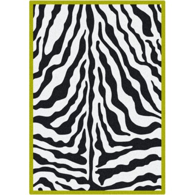 Zebra Glam Citrus Black/White Area Rug Rug Size: Rectangle 310 x 54