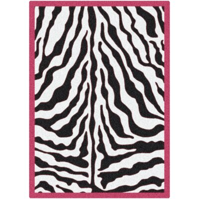 Zebra Glam Pink Passion Black/White Area Rug Rug Size: 78 x 109