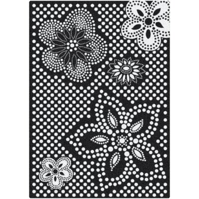 Eyelet Mod Black/White Area Rug Rug Size: Rectangle 78 x 109
