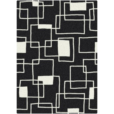 Offbeat  Box Black/White Area Rug Rug Size: 54 x 78