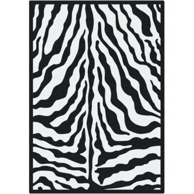 Black & White Zebra Glam Black Ink Area Rug Rug Size: 54 x 78