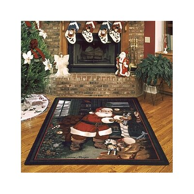 Winter Seasonal Santas Visit Christmas Area Rug Rug Size: Rectangle 54 x 78