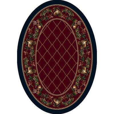 Signature Fruit Medley Garnet Area Rug Rug Size: Oval 54 x 78