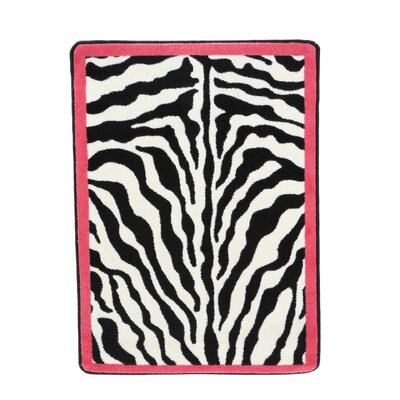 Zebra Glam Pink Passion Black/White Area Rug Rug Size: 28 x 310