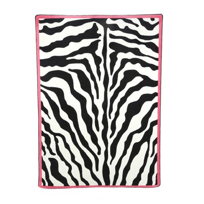 Zebra Glam Pink Passion Black/White Area Rug Rug Size: Rectangle 54 x 78