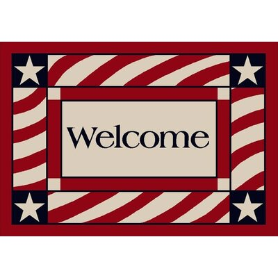 Summer Seasonal Patriotic Welcome America Doormat Size: Rectangle 28 x 310