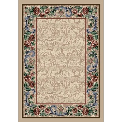 Innovation Pearl Mist Rose Damask Area Rug Rug Size: 5'4