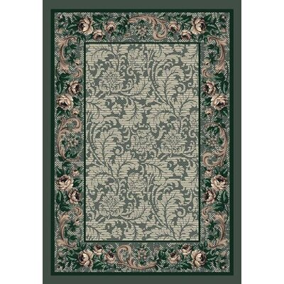 Innovation Aqua Rose Damask Area Rug Rug Size: 109 x 132