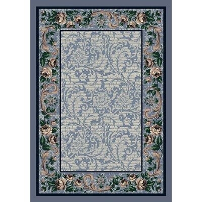 Innovation Lapis Rose Damask Area Rug Rug Size: Oval 310 x 54
