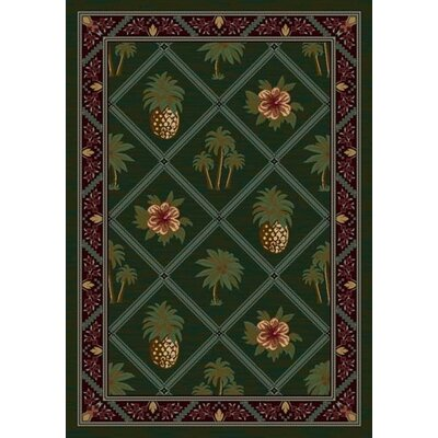 Signature Palm and Pineapple Area Rug Rug Size: Oval 54 x 78