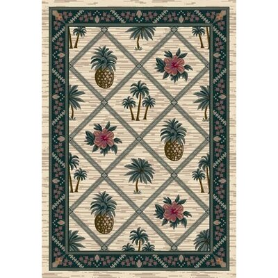 Signature Palm Bay Pearl Area Rug Rug Size: Oval 54 x 78