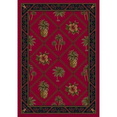 Signature Ruby Palm and Pineapple Area Rug Rug Size: Oval 54 x 78