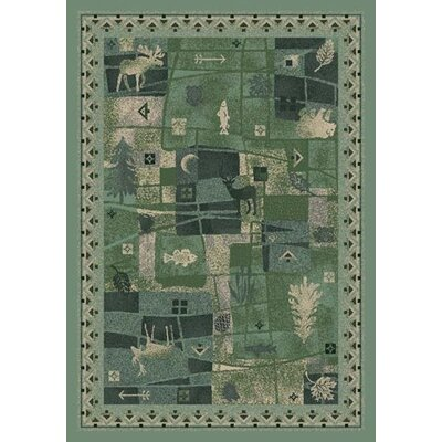 Signature Deer Trail Peridot Area Rug Rug Size: Oval 54 x 78
