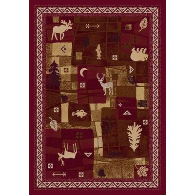 Signature Deer Trail Brick Area Rug Rug Size: Round 77