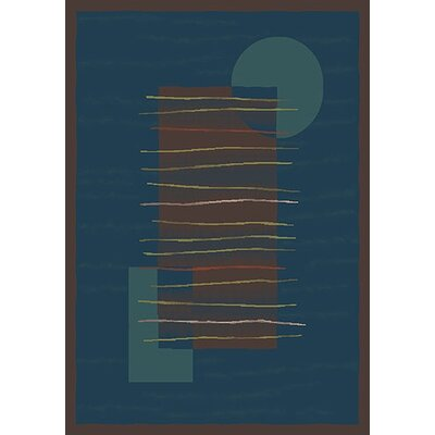 Pastiche Horizon Blue/Dark Brown Rug Rug Size: Oval 310 x 54